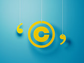 istock Yellow Copyright Symbol With String Over Blue Background 1142821360
