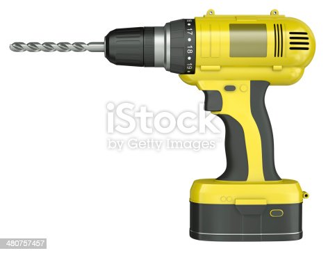 Side view of a yellow cordless drill isolated on white background. 3D render.