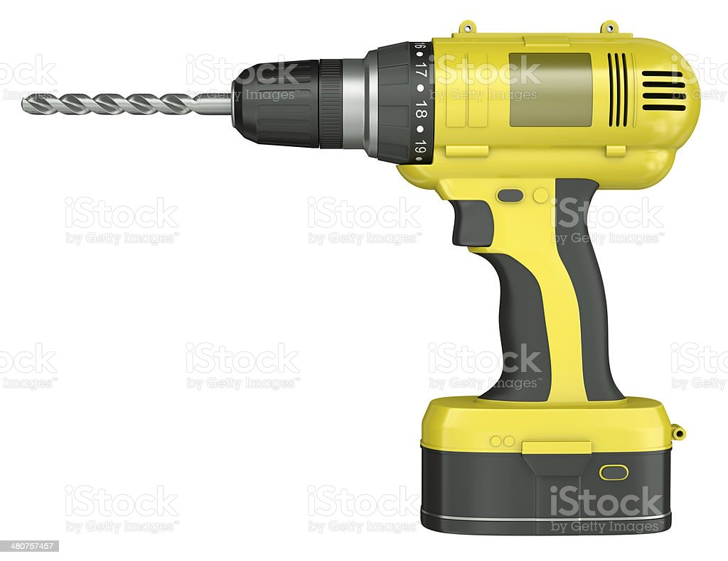 Yellow cordless drill on a white background foto