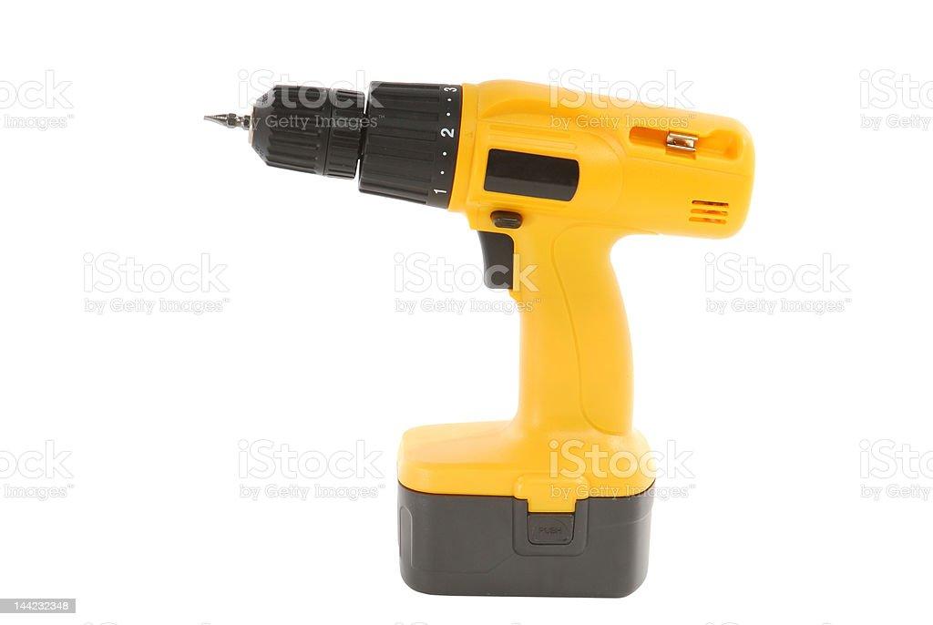 Yellow Cordless Drill royalty-free stock photo