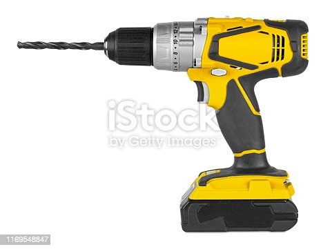 Yellow cordless electronic screwdriver drill hand tool isolated on white backgroun. DIY industry construction hobby concept