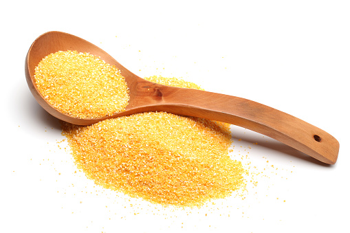 Yellow Corn Flour On The White Background Stock Photo