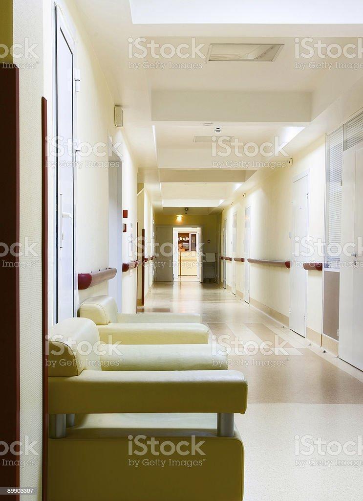 yellow corridor in hospital royalty-free stock photo