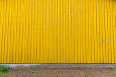 Yellow Corrugated Wall Of Metal