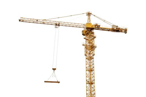 yellow crane isolated on white