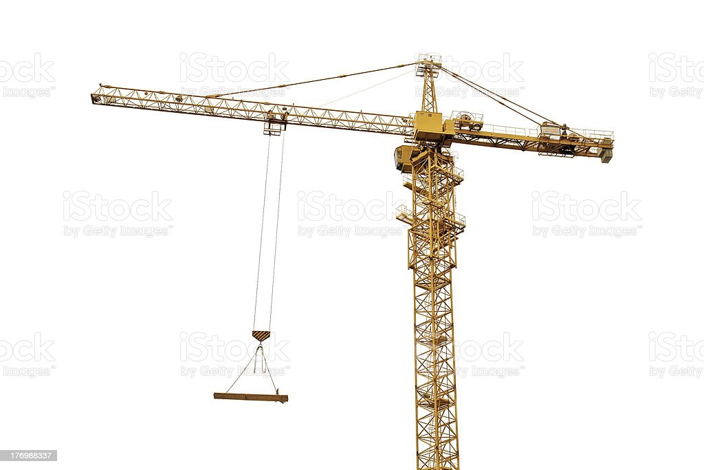 yellow crane isolated on white stock photo