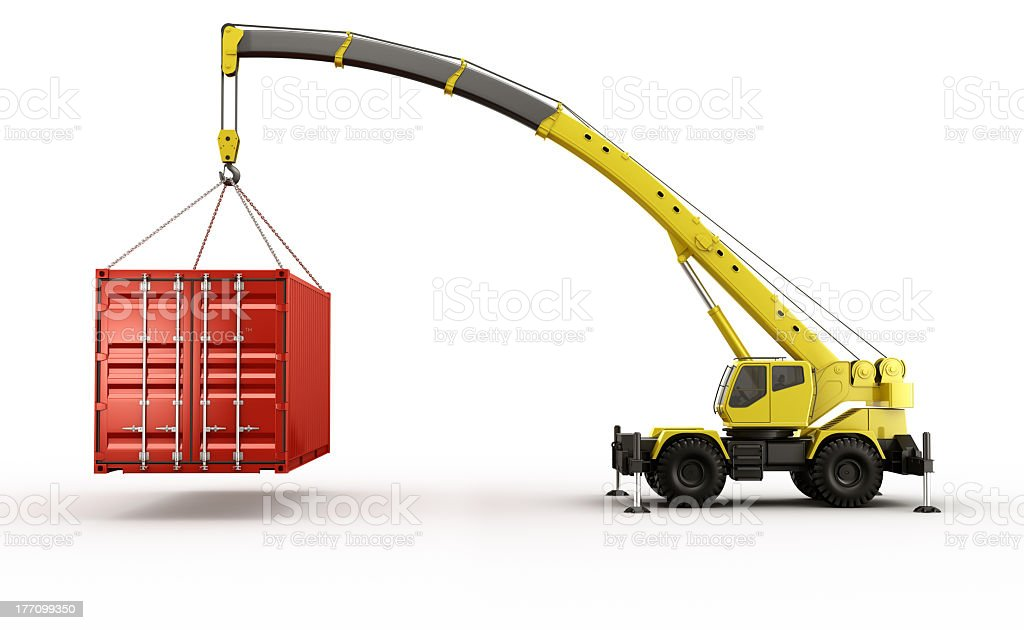 Yellow crane lifting a red shipping container stock photo