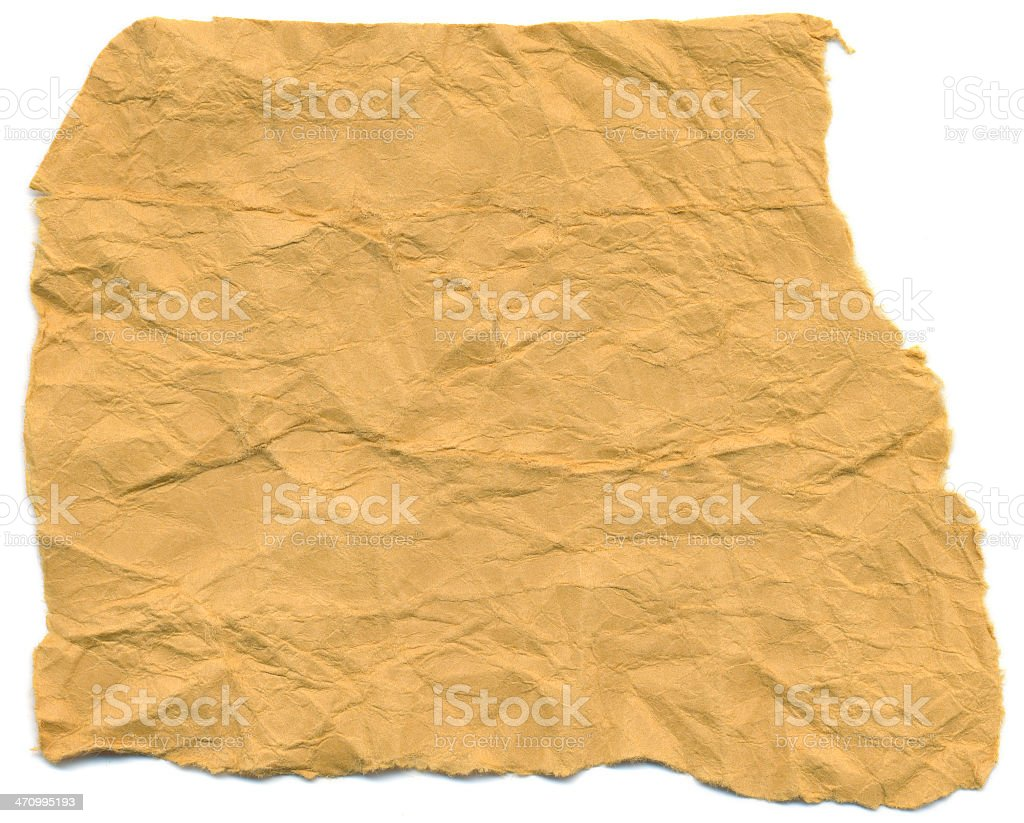 Yellow Crinkled Paper stock photo