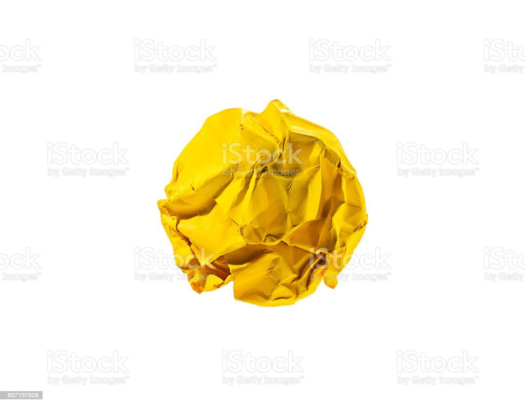 Yellow crumpled ball on white.Idea concept.Clipping path. stock photo