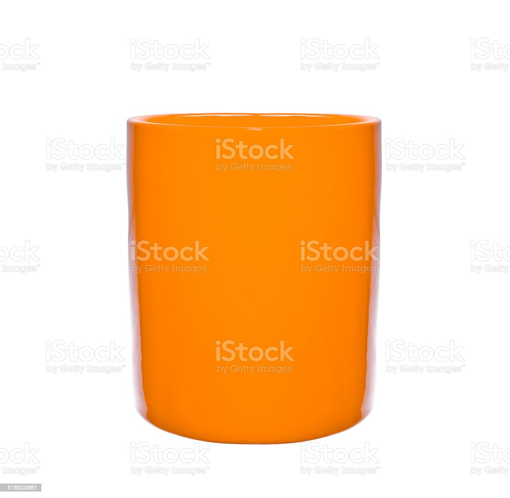 yellow cup isolated stock photo