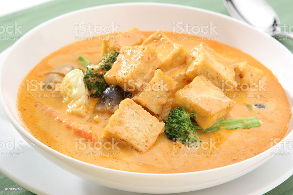 Yellow Curry Tofu Vegetarian stock photo