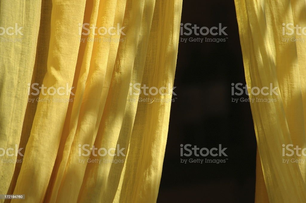 yellow curtains royalty-free stock photo