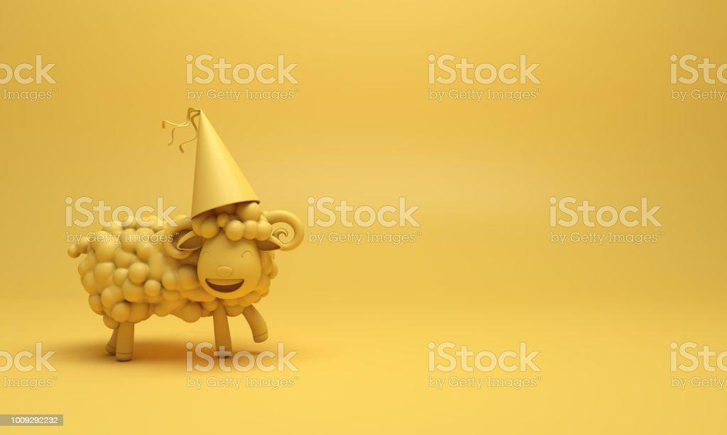 Yellow cute cartoon sheep smile wearing party hat. Design creative concept of islamic celebration eid adha or happy birthday. stock photo