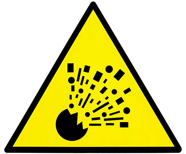 Yellow danger explosion clean triangle signal Warning bomb triangle signboard in mine cave explosive stock pictures, royalty-free photos & images