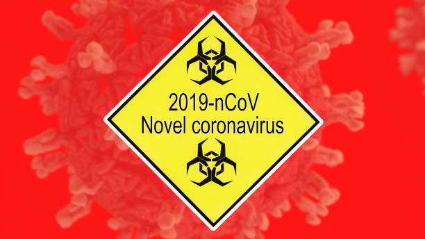 Yellow danger sign with biohazard logo before blurred virus cell depiction for Wuhan Novel virus potential spread. stock photo