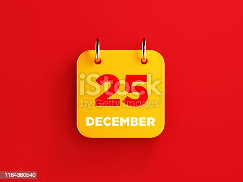 istock Yellow December 25 Calendar on Red Background 1164360540