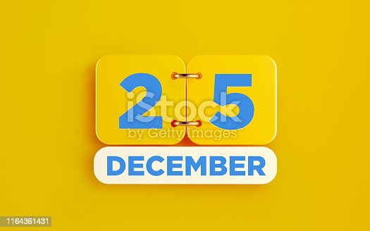 istock Yellow December 25 Calendar on Yellow Background 1164361431