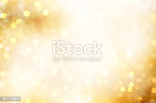 Yellow Defocused Light Background For Christmas
