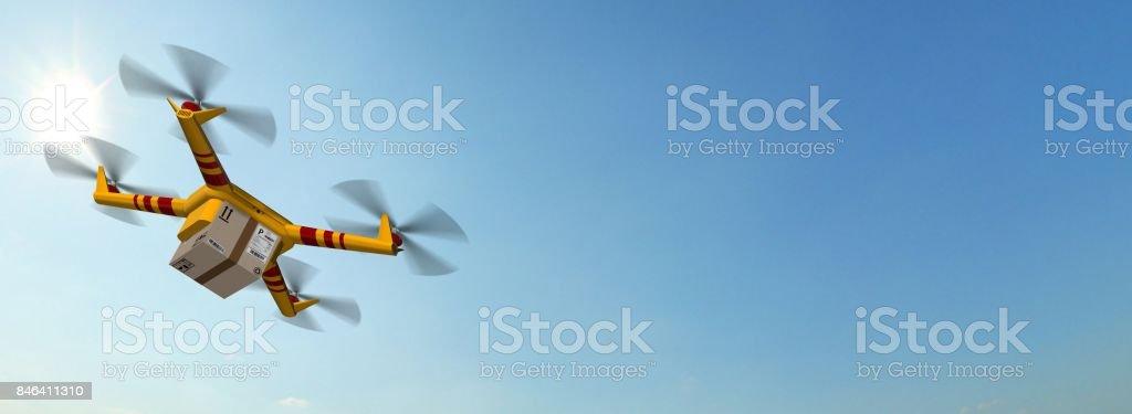 Lieferung Drohne gelb - Drohne Lieferung eine Kartonverpackung – Foto