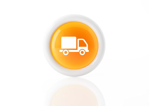 Yellow delivery truck icon with white frame on white background. Horizontal composition. Clipping path is included.