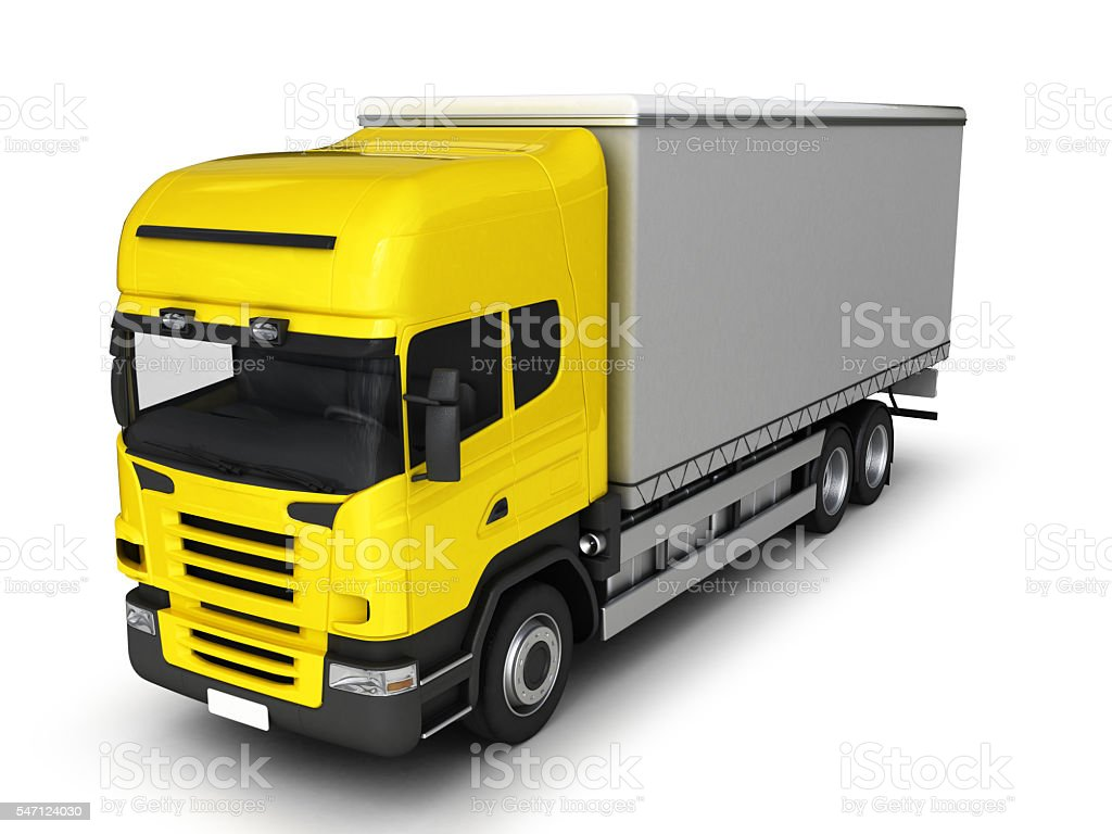 Yellow delivery truck on a white background.3D illustration. stock photo
