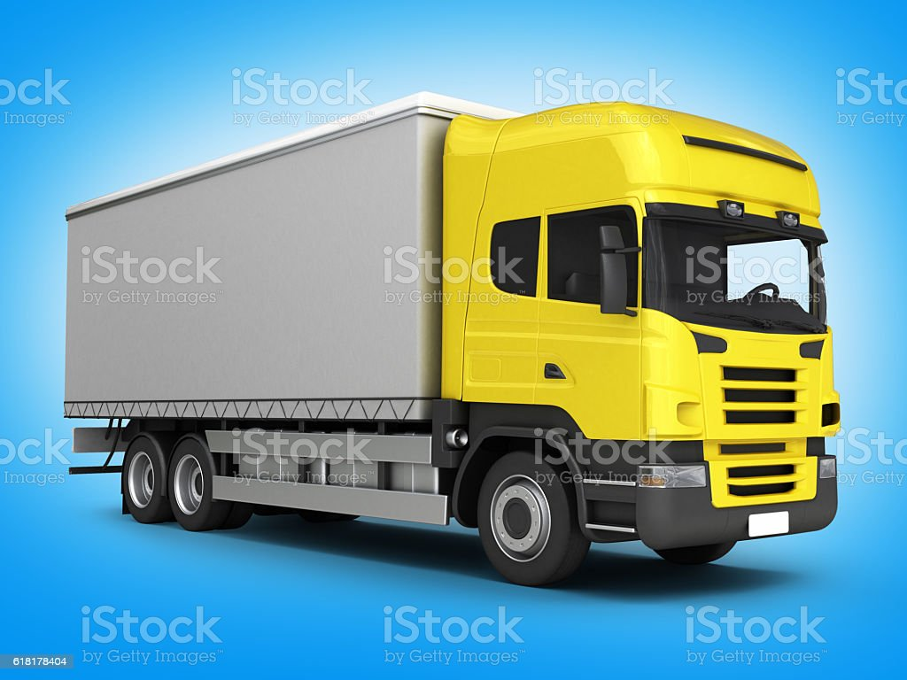 Yellow delivery truck on blue gradient background 3D stock photo