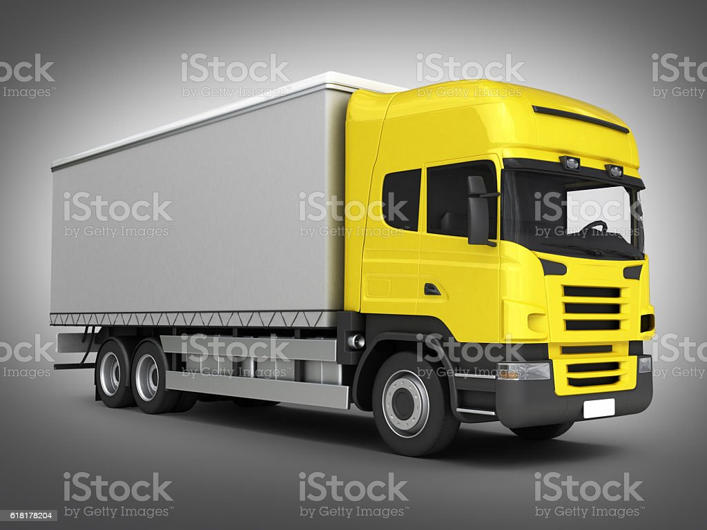 Yellow delivery truck on grey gradient background 3D stock photo