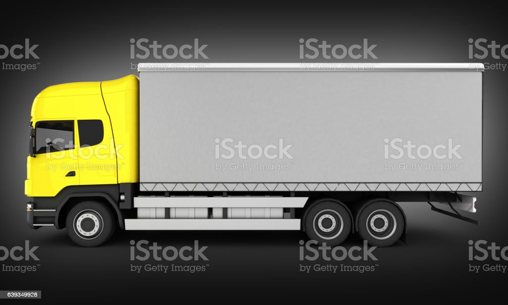 Yellow delivery truck without shadow on black gradient backgroun stock photo
