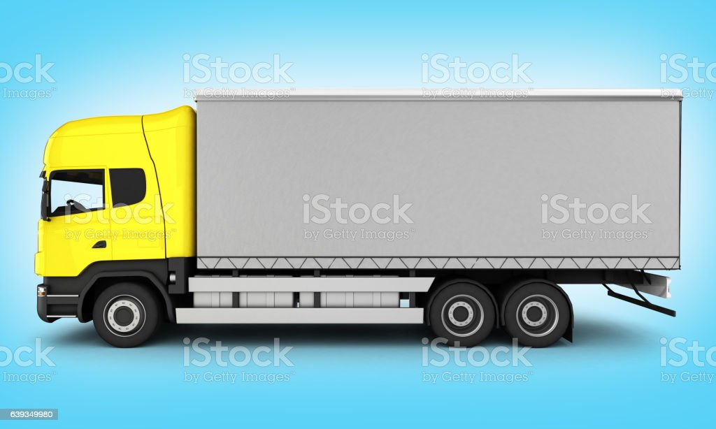 Yellow delivery truck without shadow on blue gradient background stock photo