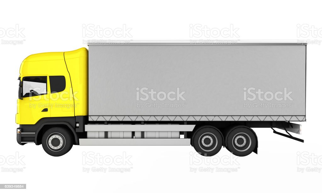Yellow delivery truck without shadow on white background 3D stock photo