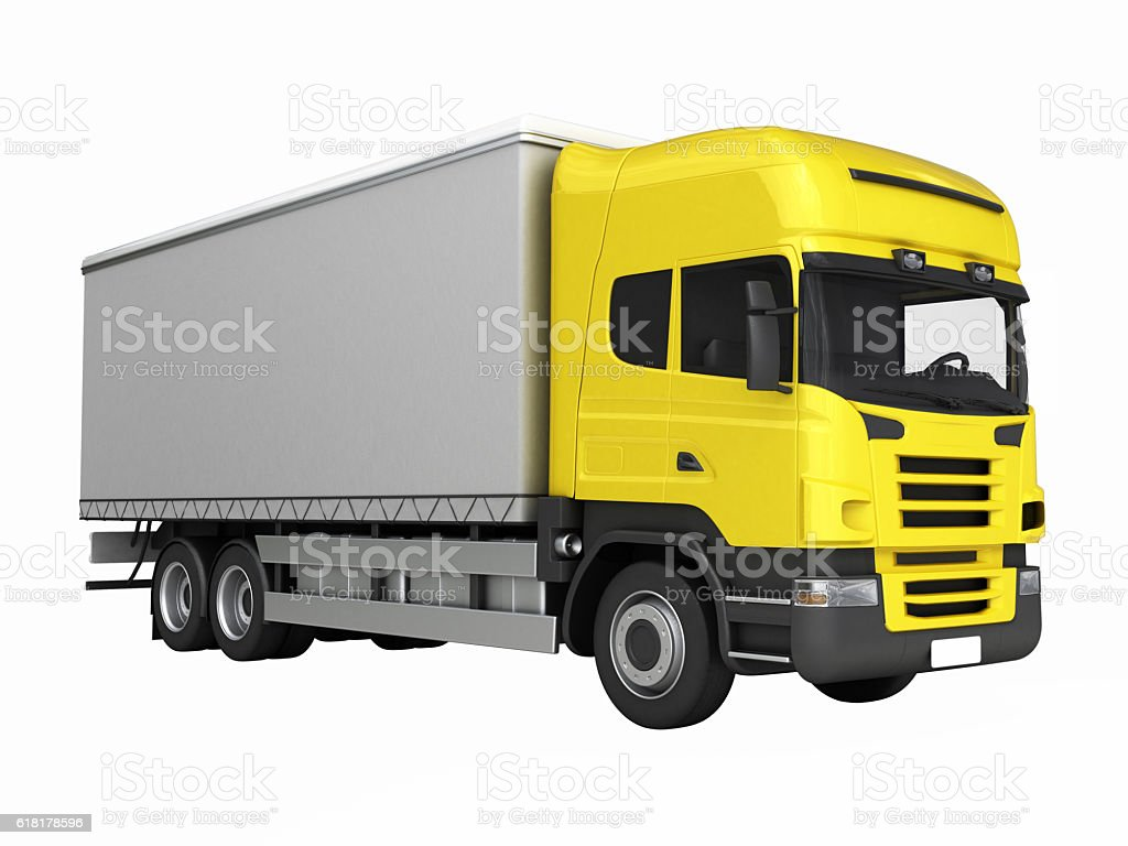 Yellow delivery truck witout shadow on a white background 3D stock photo