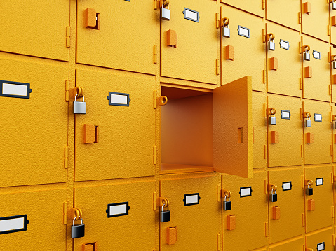 Yellow deposit boxes standing in a row