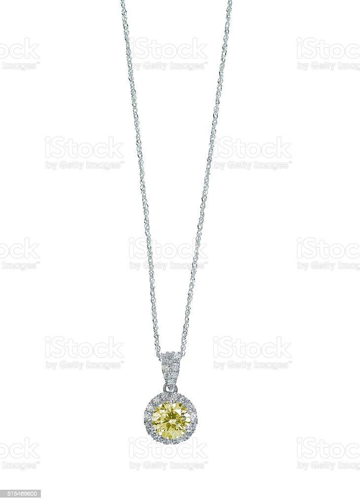 Yellow Diamond Citrine Topaz pendant necklace stock photo