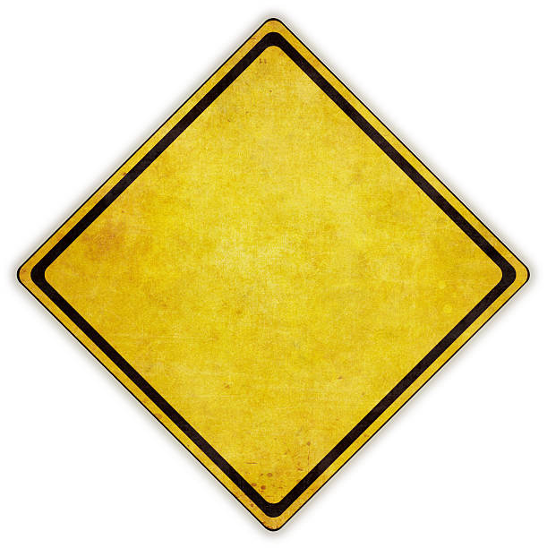 yellow diamond road sign on white background - road signs stock photos and pictures