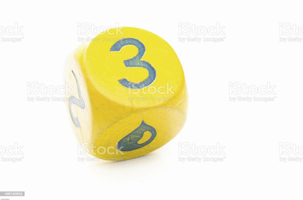 Yellow Dice 3 stock photo