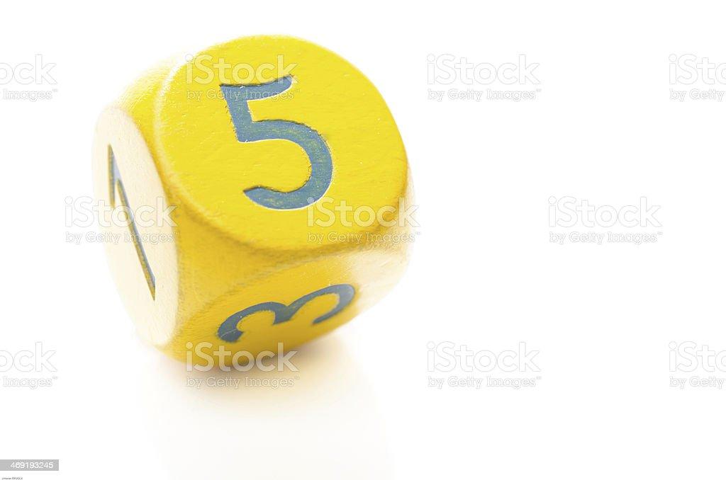Yellow Dice 5 stock photo