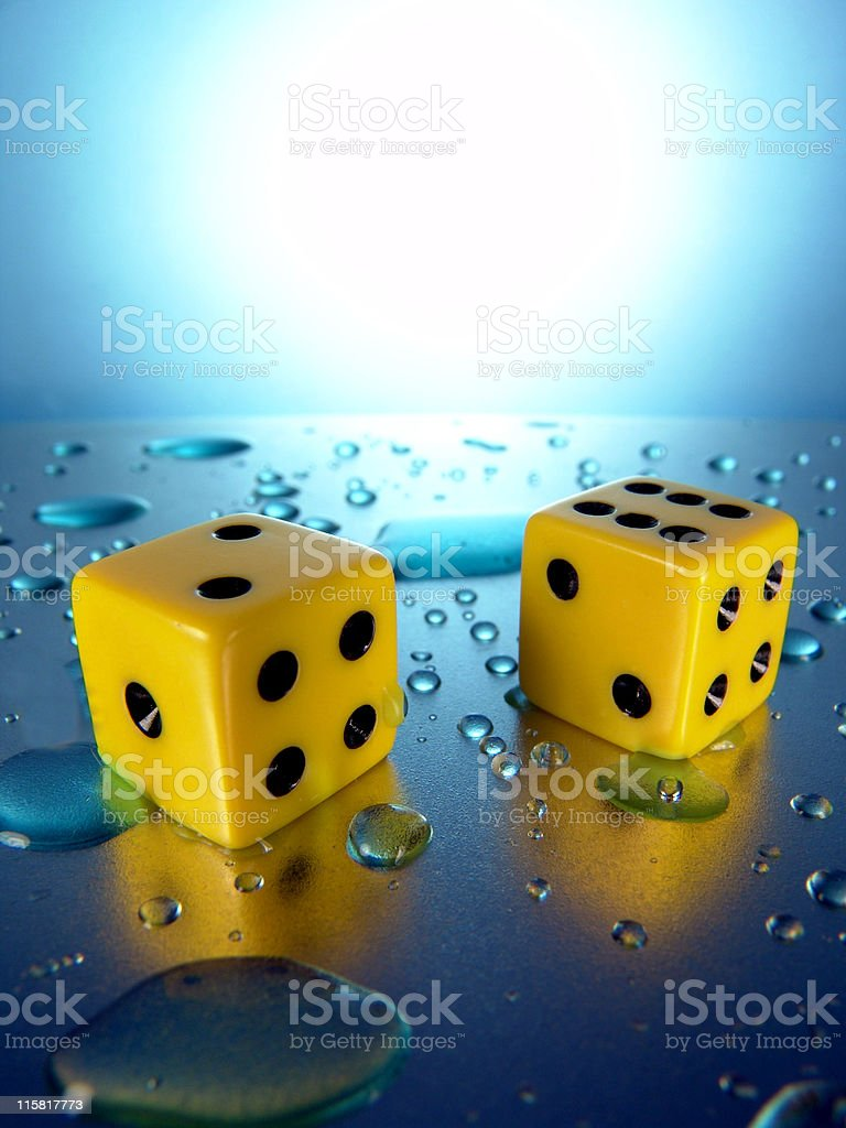 Yellow Dice, Vertical royalty-free stock photo