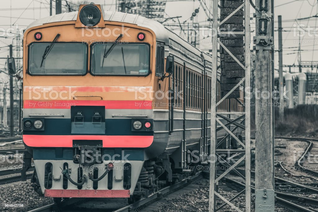 Yellow diesel train royalty-free stock photo