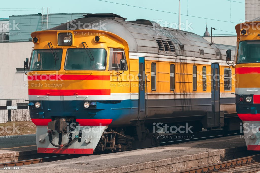 Yellow diesel train royalty-free stock photo