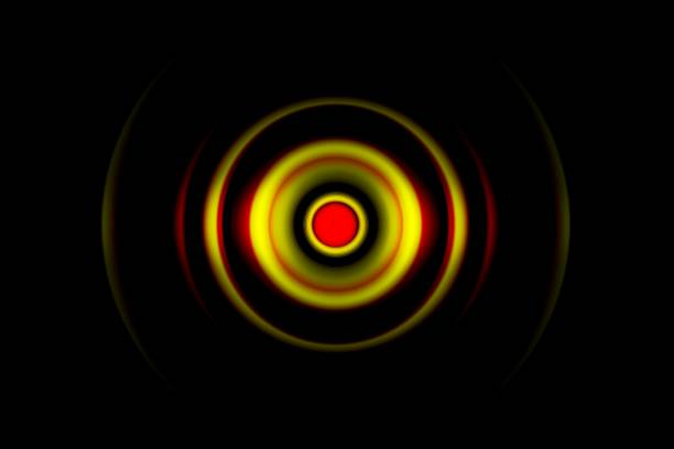 Yellow digital sound wave or circle signal, abstract background stock photo