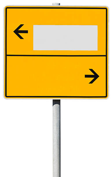 yellow direction sign (clipping path included) - place sign stock pictures, royalty-free photos & images