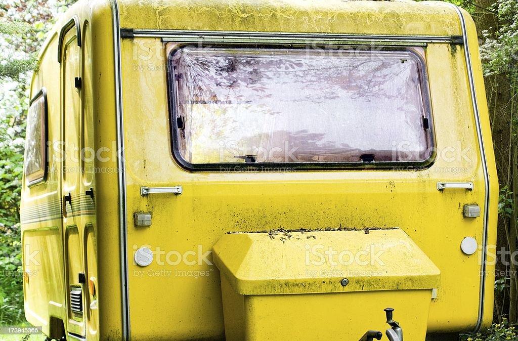 yellow dirty caravan royalty-free stock photo