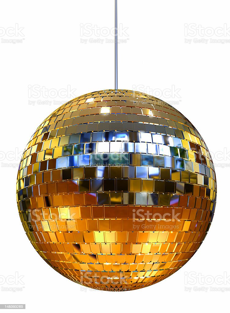 Yellow disco ball for a dance hall stock photo