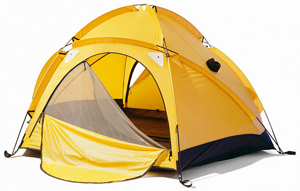 Yellow dome tent with open zip enclosure yellow dome two person tent on white background tent stock pictures, royalty-free photos & images