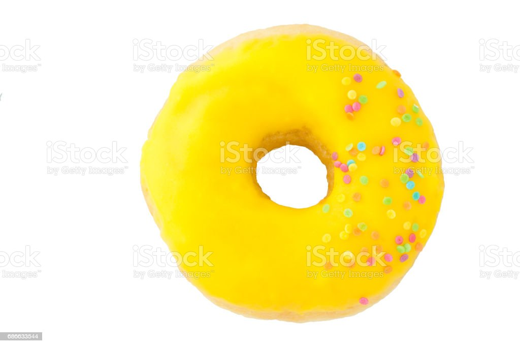 Yellow donut. Isolated. royalty-free stock photo