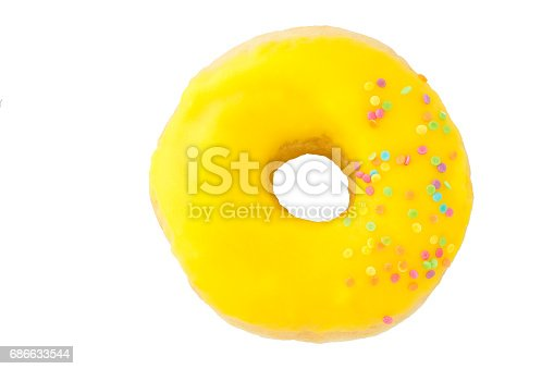 Yellow Donut Isolated Stock Photo & More Pictures of Baked