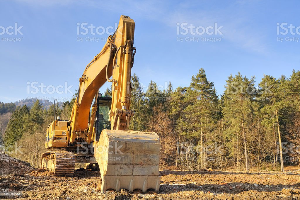 Yellow dredger royalty-free stock photo