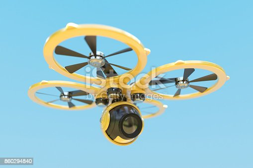 Yellow drone quadrocopter with camera on blue sky background. 3d render concept
