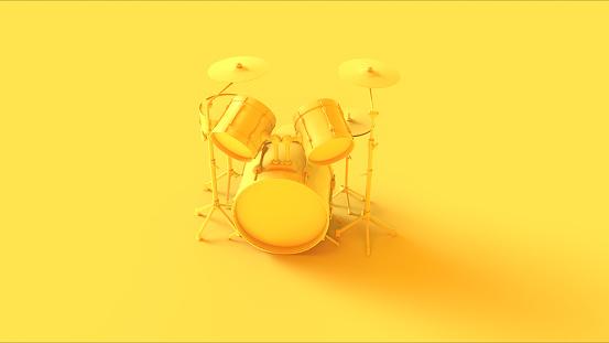 Yellow Drum Kit / 3d illustration / 3d rendering