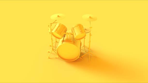 Yellow Drum Kit Yellow Drum Kit / 3d illustration / 3d rendering drum kit stock pictures, royalty-free photos & images